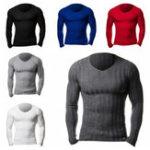Оригинал Мужская бригада Шея Тонкий Fit Muscle Knit Jumper Pullover Sweater T рубашки Топы