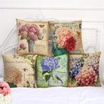Оригинал 45x45cm Цветочный стиль Мультфильм Декоративные подушки для дивана Чехол Современная цветочная печатная подушка Обложка