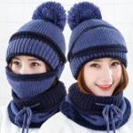 Оригинал Женское Теплые трикотажные шапочки Шапка Набор шарфов воротника