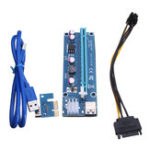 Оригинал 6pin USB3.0 PCI-E Express 1x до 16x Extender Riser Card Adapter Силовой кабель SATA