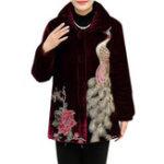 Оригинал L-4XL Elegant Женское Павлиньи вышитые пальто