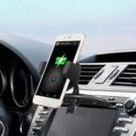 Оригинал Беспроводная связь Qi Авто Крепление для воздухозаборника с вентилятором для Samsung S8 iPhone 8 Plus X