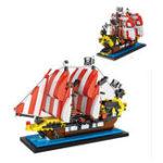 Оригинал LOZBlackSeasBarracudaPirateShip Mini DIY Сборка кирпичного кирпича для детей