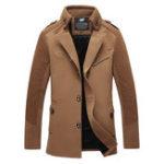 Оригинал Мода Тонкий Fit Толстые шерстяные пальто Mid Long Trench Coat