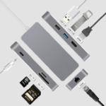 Оригинал 7In 1 Тип c Hub to High Definition Мультимедийный интерфейс USB3.0 Сетевой порт SD TF адаптер конвертер