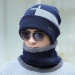 Оригинал Мужская зимняя шерстяная смесь Warm Knitted Шапка и набор шарфов