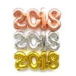 Оригинал 2018НомерFoilВоздушныйшарЗолото Серебро С Новым годом Room Party Decoration