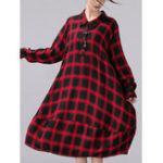 Оригинал Plus Размер Повседневный Женское Loose Plaid Blouse Платье