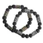 Оригинал Norse Viking Rune Spacer Lava Stone Rock Beads Bracelet