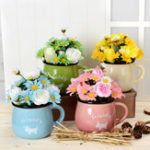 Оригинал Моделирование Цветочная хризантема Кубок Pot Pottery 4 Colors Can Select