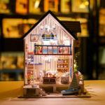Оригинал iiecreate 13018 The Gutf of Venice DIY Кукольный дом с мебелью Светлая музыкальная обложка Миниатюрный дом