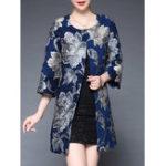 Оригинал Plus Размер Элегантный Цветочный Печатный Пальто