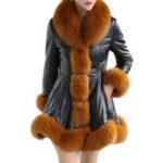 Оригинал Кожаное пальто из искусственного меха