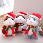 Оригинал 18CM Lovely Talking Hamster Christmas Plush Toy Говорит Говорящий звук Запись Хомяк Говорящие игрушки