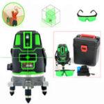 Оригинал 360 ° Rotary Green 5 Line Лазер Уровень Самовыравнивание Вертикальное измерение горизонтального уровня Инструмент