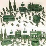 Оригинал 56 шт. Военный Ракетная базовая модель Playset Toy Soldier Green 5cm Рисунок Army Men