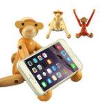 Оригинал Деревянная деревянная обезьяна Дания Кукла Toy Desktop DIY Телефон Stand Holder для iPhone X 8 Samsung S8 Xiaomi