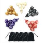 Оригинал 35pcs 5 комплектов Polyhedral Кости 5 цветов D & D RPG с 5 мешками