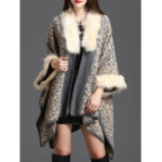 Оригинал Leopard Faux Fur Collar Вязаный плащ