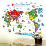 Оригинал CartoonAnimalsWorldMapНаклейкина стены для украшения детской комнаты Safari Mural Art Zoo Дети Домашние наклейки