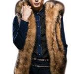 Оригинал Имитация меховой куртки Толстый Faux Raccoon Fur с капюшоном Жилет