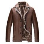 Оригинал Мужская искусственная кожа лацкан Воротник Толстая бархатная зимняя куртка