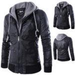Оригинал Мужская мода Faux Leather Fake Two Black мотоцикл Куртка