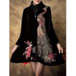 Оригинал S-5XL Elegant Женское Павлиньи вышитые пальто