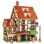 Оригинал DIY3DДеревяннаяголоволомкаФранцияФранцузский стиль кофе дом Buliding модель Дети Дети Рождественский подарок