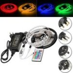 Оригинал DC12V 5M 60W SMD5050 Водонепроницаемы RGB LED Полоса Light + WiFi-контроллер + Дистанционное Управление + Адаптер