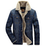Оригинал Мужская зима Толстый теплый флис Multi Pocket Denim Blue Jacket