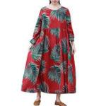 Оригинал S-5XL Casual Женское Листья напечатанные Long Maxi Платье