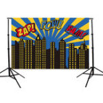 Оригинал 5x3ft Comic Building Theme Vinyl Photo Background Backdrop для Studio Photo