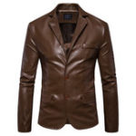 Оригинал Mens Lapel Collar Тонкий Fit Black Fashion Faux Leather Jacket