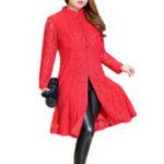 Оригинал Plus Размер Элегантный Женское Lace Frog Button Платье