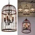 Оригинал 4 Head Black Bird Cage Хрустальная люстра Лампа Потолок Кулон Осветительные приборы AC85-240V