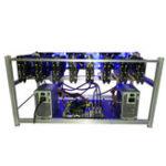 Оригинал 8 GPU Mining Frame Чехол Miner Чехол Алюминиевая штабелируемая горная вышка Чехол Wtih 6 Fans