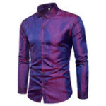 Оригинал Mens Bright Nightclub Turn-Down Collar Purple Designer Рубашка
