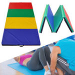Оригинал 94x47x1.96 дюймов 4 Folding Panel Gymnastics Mat Rainbow Colours Gym Упражнение Бег Фитнес Yoga Pad