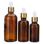 Оригинал Коричневая янтарная стеклянная бутылка Стеклянная капельница для отбрасывания бутылки Многоразового использования Контейнер 30 мл 50 мл 100