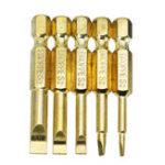 Оригинал Broppe Gold 5шт 2-6 мм Магнитный плоский шлицевый наконечник Отвертка Биты 1/4 Шестигранный хвостовик Отвертка