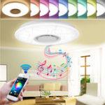Оригинал 36W Сглаживаемое утопленное крепление LED Потолочный светильник Музыка Кулон Лампа с Bluetooth Динамик AC95-265V
