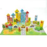 Оригинал 62PCSCityBuildingBuildingBlockДеревянные DIY Сборка кирпичей для детей Обучающие игрушки для подарков