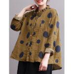 Оригинал Повседневная Женское Polka Dot Print Stand Воротник-блузка