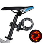 Оригинал ROCKBROS Велосипедный кабель Замок с байковым задним светом Водонепроницаемы USB аккумуляторная велосипед Анти Theft Замокs