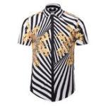 Оригинал Творческая полоса 3D-печать с коротким рукавом Chic Рубашка для мужчин