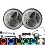 Оригинал Пара 7inch H4 H13 Круглый RGB LED Галогенная лампа DRL Hi / Lo Beam Для Harley / Jeep JK 07-16