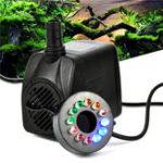 Оригинал RGBY 12 LED Night Light Погружная вода Насос для Аквариум KOI Fish Pond Fountain AC220V