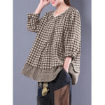 Оригинал M-5XL Plaid Patchwork Blouse