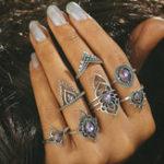 Оригинал 7 шт Фиолетовый кристалл Модный полый цветок Knuckle Набор колец
